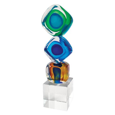 "$89.95 Murano Style Art Glass 8"" Tricolore Cubed Centerpiece"