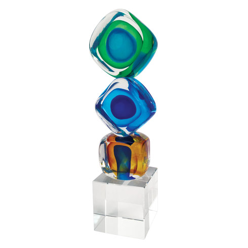 "$89.95 Murano Style Art Glass 8"" Tricolore Cubed Centerpiece"