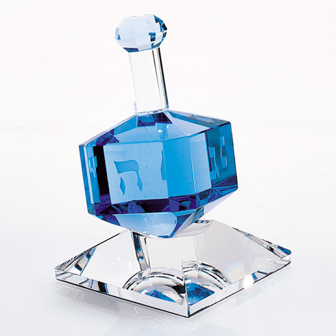 $45.00 Cobalt Crystal Dreidel On Stand H3""