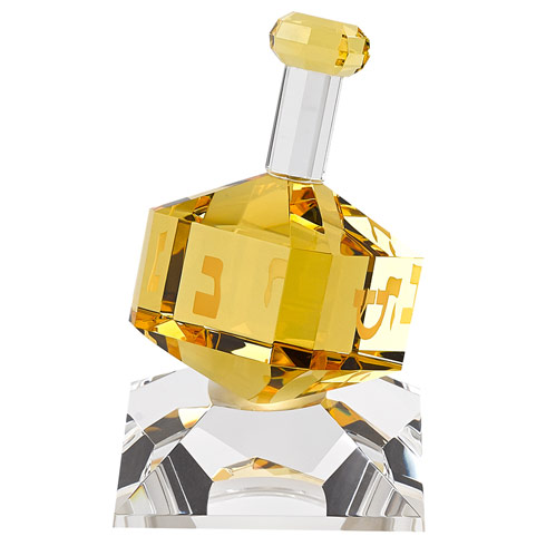$49.95 Amber Crystal Dreidel On Stand H3""