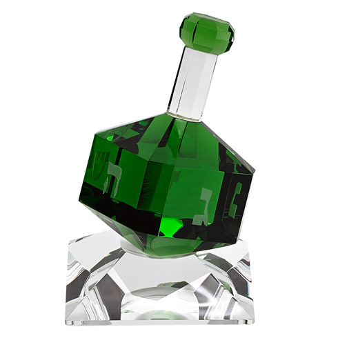 $39.00 Green Crystal Dreidel On Stand