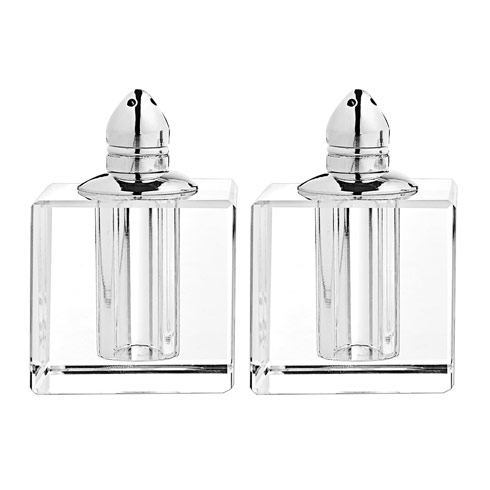 $49.00 Handmade Lead Free Crystal Pair Salt & Pepper - Zendra Platinum H 2.5 in. Platinum Top Hand Crafted Crystal
