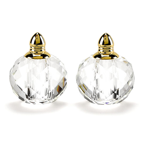 $54.95 Handmade Lead Free Crystal Pair Salt & Pepper - Zendra Gold H 2.5 in