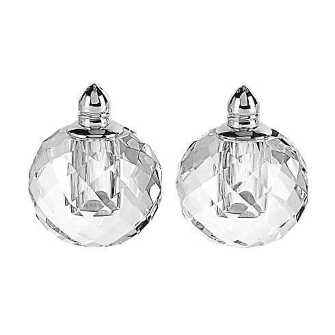 $54.95 Handmade Lead Free Crystal Pair Salt & Pepper - Zendra Platinum H 2.5 in. Platinum Top