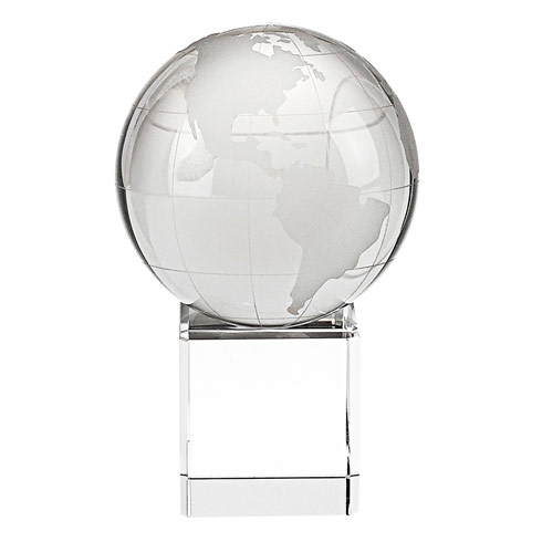 "$44.95 Hand Cut Crystal 3"" Globe on 1.75"" Crystal Base"