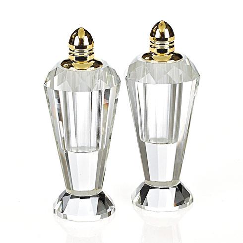 Badash  Serveware Preston Gold Handmade Lead Free Crystal Pair of Salt & Pepper - H4