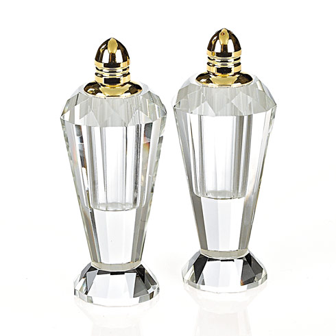 $64.95 Preston Gold Handmade Lead Free Crystal Pair of Salt & Pepper - H4""