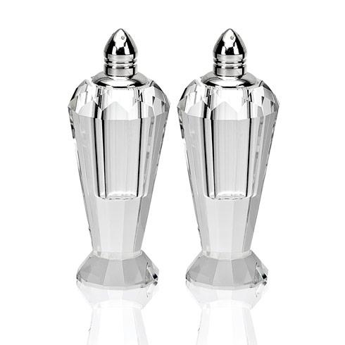 "$59.00 Preston Platinum Handmade Lead Free Crystal Pair of Salt & Pepper - H4"""