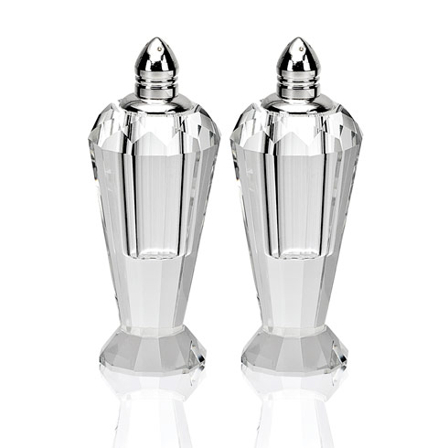 $64.95 Preston Platinum Handmade Lead Free Crystal Pair of Salt & Pepper - H4""