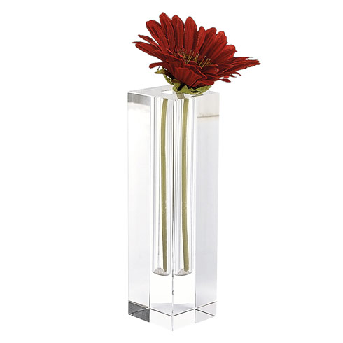 "$69.95 Donovan Handcrafted  Square 8.75"" Optical  Crystal Bud Vase"