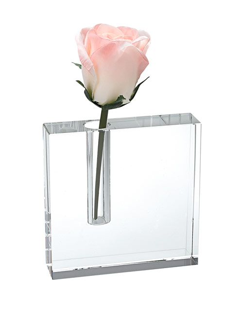 $69.95 The Block Handcrafted Crystal  Bud Vase 5 x 5""