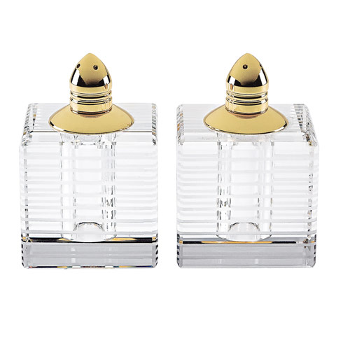 $54.95 Pinstripes Gold Handmade Lead Free Crystal Pair Salt & Pepper - H2.75""