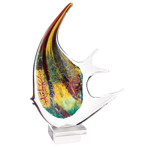 "$199.95 Firestorm Murano Style Art Glass 16"" Angel Fish Centerpiece"