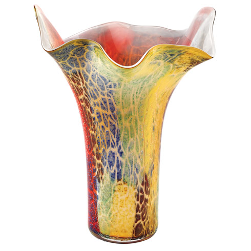 "$179.95 Firestorm 17"" Murano Style Napkin Shape Mouth Blown Vase"