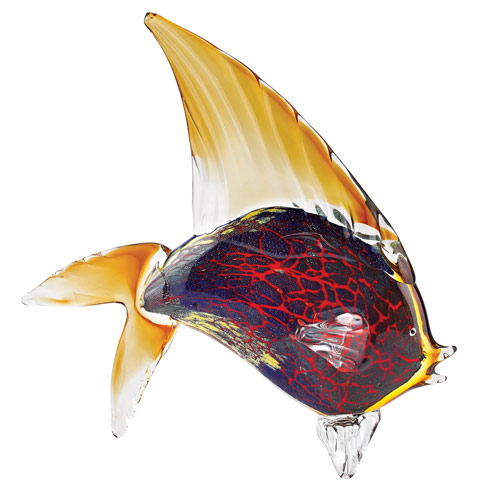 "$199.95 Firestorm Murano Style Art Glass Tropical Fish Figurine H 15.5"" x L 18"""