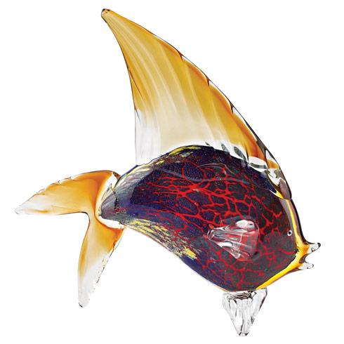 "$185.00 Firestorm Murano Style Art Glass Tropical Fish Figurine H 15.5"" x L 18"""