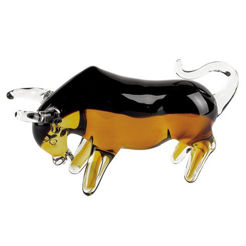 "$69.95 Murano Style Art Glass Bull L8 x H4"""
