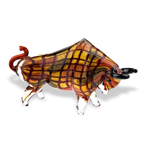 "$189.00 Toro Grande Murano Style Art Glass Large Bull L 16"" x H 8"""