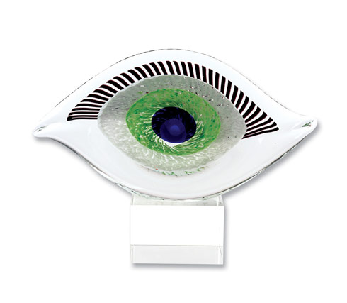 "$79.00 Visionary Good Luck Murano Style Art Glass Eye Centerpiece H 7.5"" x L 10"""
