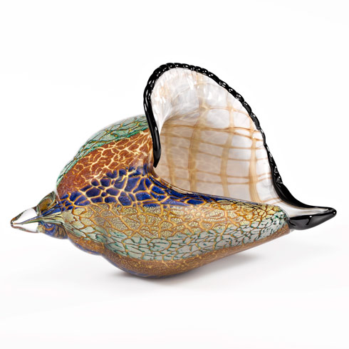 $159.95 Murano Style Artistic Glass Large Conch Shell L 13 x H 8""