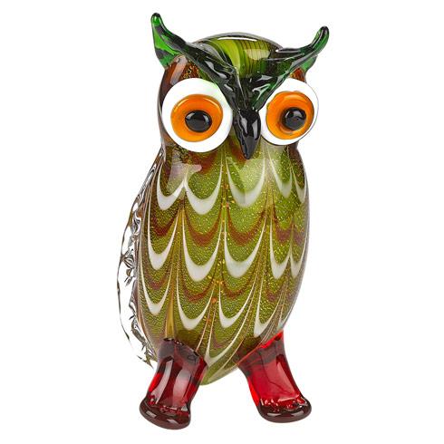"""$69.00 Murano Style Art Glass Owl H 8"""""""