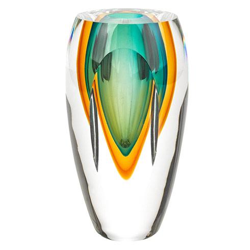 """$54.95 Rimini Murano Style Art Glass Amber & Green 6"""" Vase"""