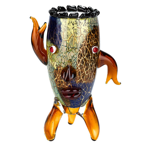 "$148.00 Murano Style Art 13"" Glass Vase with a Face!"