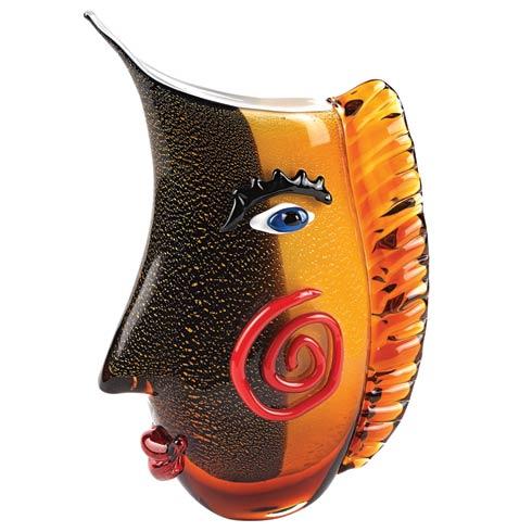 """$169.00 Murano Style Art Glass Side Face 12.5"""" Vase"""