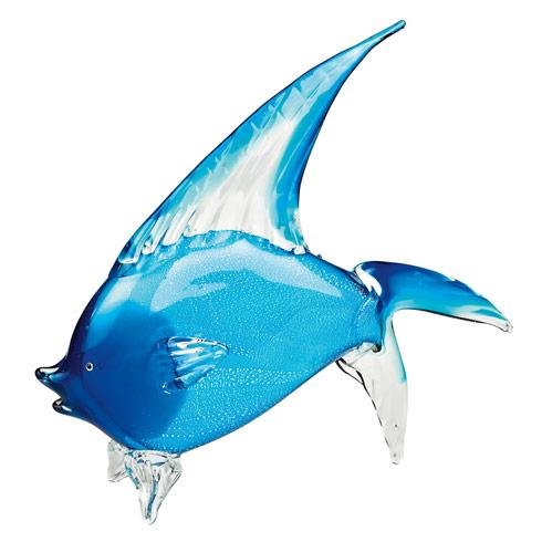 "$179.00 Light Blue Murano Style Art Glass Tropical Fish H 15.5"" x L 18"""