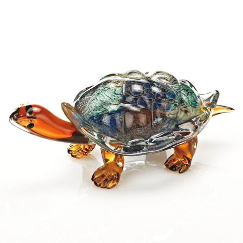 """$129.00 Firestorm Murano Style Art Glass Turtle L 12"""" x 6"""" x 5"""""""