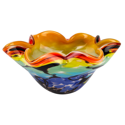 Allura Murano Style Art Glass Floppy 8.5-inch Centerpiece Bowl