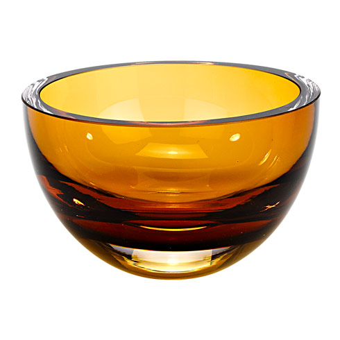 $69.00 Penelope Amber Mouth Blown European Lead Free Crystal 6 in. Bowl