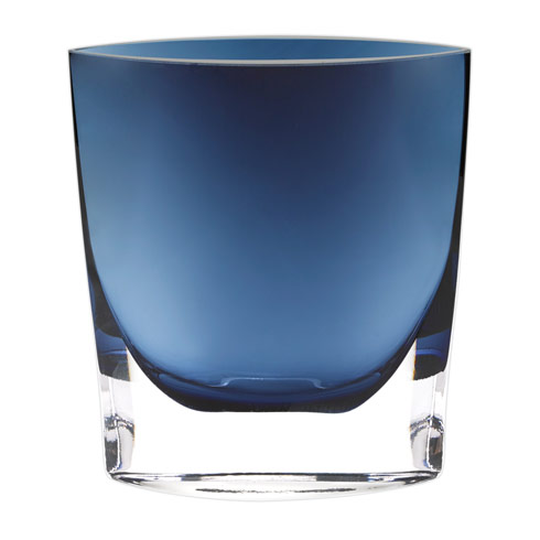 "$89.00 Samantha Midnight Blue European Mouth Blown 8"" Glass Vase"