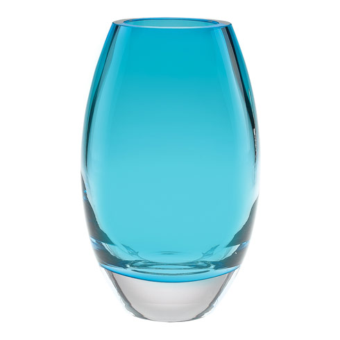 "$129.00 Radiant European Mouth Blown Lead Free Crystal Radiant 9"" Aqua Blue Vase"