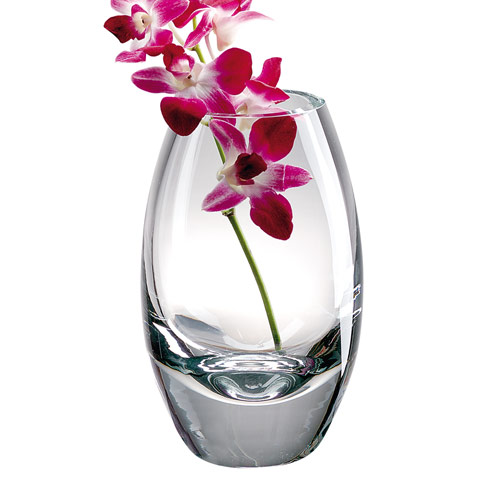 "$129.95 Radiant European Mouth Blown Crystal 11"" Vase"