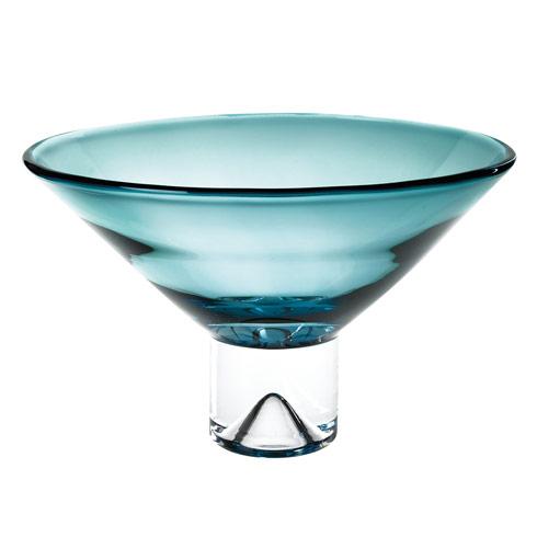 """$119.00 Monaco Peacock Blue European Mouth Blown Crystal 12"""" Centerpiece Bowl"""