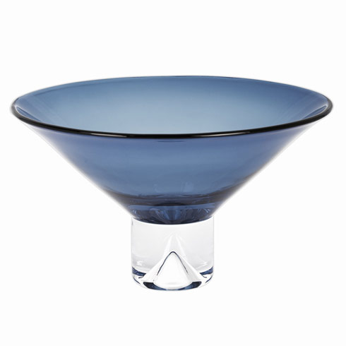 "$129.00 Monaco Midnight Blue  European Mouth Blown Crystal 12""  Bowl"