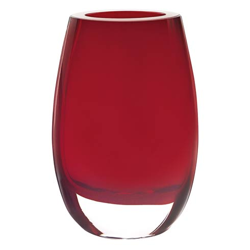 Crescendo Red  European Mouth Blown Oval Thick Walled Vase 7.5