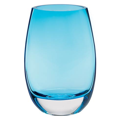 "$89.00 Crescendo European Mouth Blown Lead Free Crystal Oval Thick Walled 7.5"" Aqua Blue Vase"