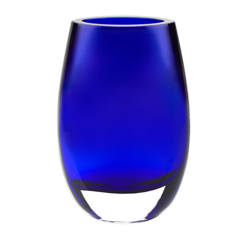 "$79.00 Crescendo Cobalt Blue European Mouth Blown Crystal 7.5"" Vase"