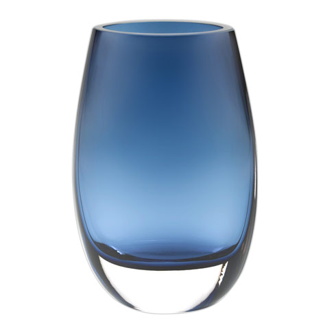 "$79.95 Crescendo Midnight Blue  European Mouth Blown Oval Thick Walled7.5"" Vase"