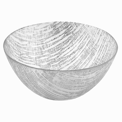 $39.00 Silver Lines Handcrafted Glass Bowl Large