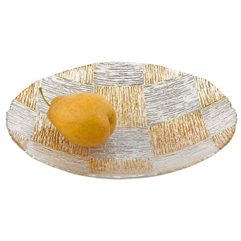 "$39.00 Silver and Gold Cubes Hand Decorated Glass 12"" Bowl"