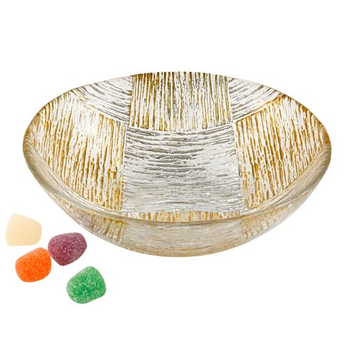 "$19.95 Silver and Gold Cubes Hand Decorated Glass 6"" Bowl"