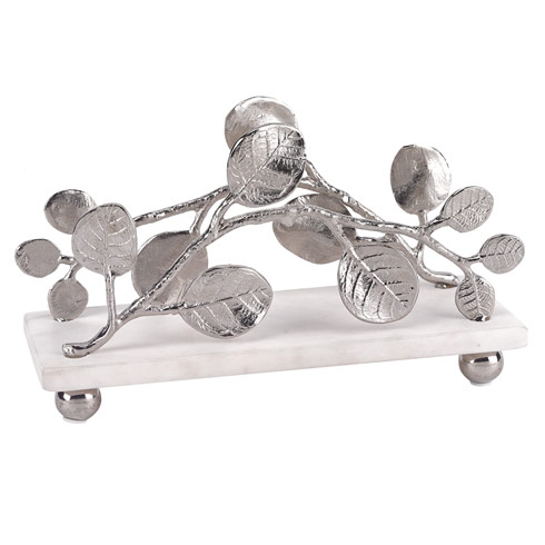 Napkin holder with Marble Base and Silver Brass Petals Design