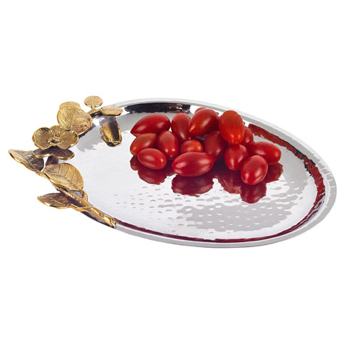$45.00 Stainless Steel & Brass Oval Tray