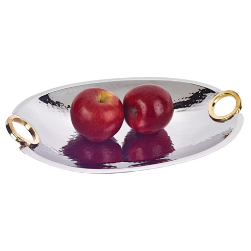 $79.00 Rings Stainless Steel and Brass Oval Bowl