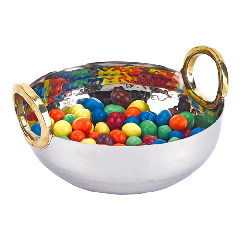 $35.00 Rings Stainless Steel and Brass Serving Bowl