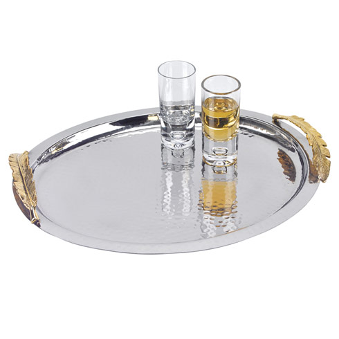 Badash  Feathers Stainless Steel and Brass Oval Serving Tray $67.50
