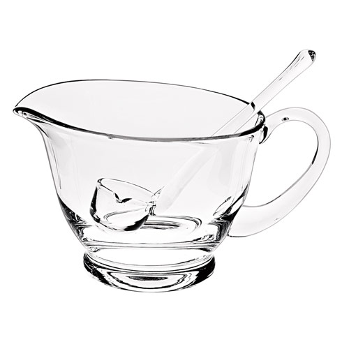 $45.00 Holiday Glass Gravy/Sauce Boat with Ladle L6 x h5""